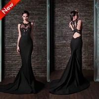 Wholesale 2014 Retro Sexy Mermaid Crew Backless Beads Sheer Lace Chapel Train Black Taffeta Prom Evening Dresses