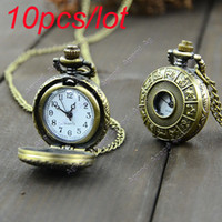 Wholesale 10pcs mini Retro Vintage classical pocket watch Bronze Steampunk Quartz Necklace Pendant Chain Clock Pocket Watch Chinese Zodiac
