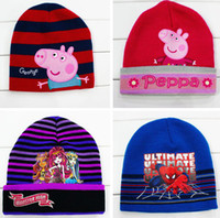 Wholesale DHL Fedex EMS Autumn winter children s hat Peppa pig superman patterned Modeling baby hats velvet ear muff cap baby Cartoon hats T Melee