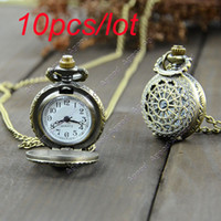 Wholesale 10pcs Retro Vintage Bronze Steampunk Quartz Necklace Pendant Chain Clock Pocket Watch Spider Web Hollow