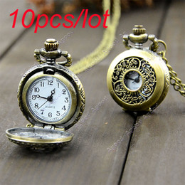 Wholesale 10pcs Mini Retro Vintage classical Pocket Watch Bronze Steampunk Quartz Necklace Pendant Chain Clock Floral Hollow