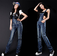 Wholesale New Popular Women s Overalls Denim Jeans Suspender Trousers Jumpsuits Adeal