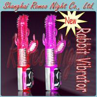 Wholesale 8 Speeds Vibration and Speed Rotation Rabbit Vibrator Multi Speed Dildos Vibrator Adult Sex Toys For Woman