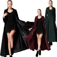 Coats Women Polyester Autumn Winter Women's Slimming Turn-down Collar Women Coat Overlength Maxi Long Skirt Overcoat Outerwear
