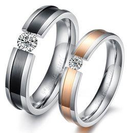 Titanium steel jewelry ,Personality   diamond   Fashion   rose gold plated titanium steel rings couple rings