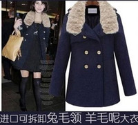 Wholesale the new Europe and the United States women s autumn winter decoration and rabbit fur coat collar coat