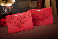 Wholesale Top grade perfect CW3105 red hellow out Invitation card Wedding Invitations come envelopes sealed