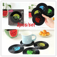 Wholesale 2pcs Set Vinyl Record Coaster Cup Mat Drinks Holder Coffee Tableware Pad Placemat Home Decor Gifts Retro Colors