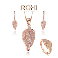Wholesale ROXI Exquisite Angel wings Jewelry bridal Set platinum plated with CZ diamonds fashion Micro Inserted Jewelry