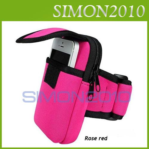 Buy Colorful Armband Cycling Sports Running Wrist Pouch Mobile Cell Phone Arm Band Bag Wallet Double Zip Apple iphone 4 4S 5 5S 5C
