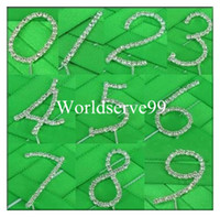 Wholesale Rhinestone Crystal Diamante Number Cake Topper Tool Wedding Birthday Anniversary Party Supply