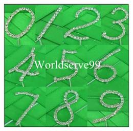 Wholesale Rhinestone Crystal Diamante Number Cake Topper Tool Wedding Birthday Anniversary Party Supply