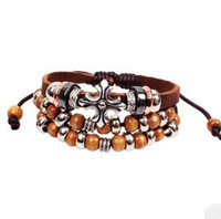 Beaded, Strands beaded braided - Fashion Cross Leather Bracelet Multilayer Braided Bohemian Charm Bracelet Christian Jewelry LB004