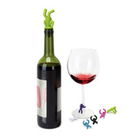 Wholesale Drinking Buddy Wine Bottle Stopper and Wine Glass Markers Set silicone wine saver kitchen liquid vinegar oil soy souce saver bottle cap