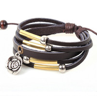 Charm Bracelets South American Unisex European Fashion Rose Pendant Leather Bracelet Multilayer Handmade Bracelet for Women LB009