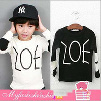 Unisex Spring / Autumn  Wholesale - Free EMS DHL Child's Clothes %100 Pure Cotton Long Sleeve Baby Boy Cool T Shirts Black White Letter Kids Tshirt Children Topwear