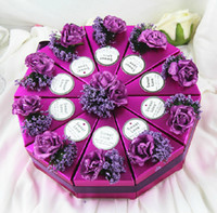 Wholesale Dia cm Color Lavender Paper Gift Box Lovely Cake Candy Box Gift Package Wedding Favors set set CK059