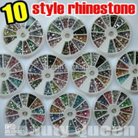 Nail Art 3D Decoration Nail Art Rhinestones China (Mainland) Wholesale - 10 style shape Nail Art Rhinestone 1800pcs 12color Glitter beads Acrylic Tips acrylicstone in Wheel
