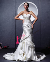 Cheap Free Shipping Beading Sash Trumpet Mermaid Appliques White Satin Wedding Dresses Customized ball gown corset top Bridal Dresses
