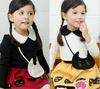 Girl Spring / Autumn  Wholesale - 44002 3pcs girls lovely outfits kids long sleeve t shirt with bags + skirt + leggings sets children suits spring clothes black w