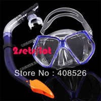 Wholesale Hot sets New Dark Blue Scuba Diving goggles Equipment Dive Mask Dry Snorkel Set Scuba Snorkeling Gear Kit TK0867