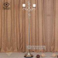 Wholesale empty crystal ball style wrEuropeanght iron candelabra wedng candle holders lanng AV