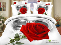 Adult Twill 100% Cotton 4pcs unique red rose white queen size 3d cotton comforter bedding set sheets quilt duvet cover bedclothes bed linen bedspreads