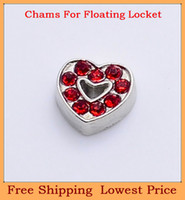 red heart charm - Hot sale zinc alloy red crystal heart silver metal origami owl floating charms for living photo memory glass lockets FC46