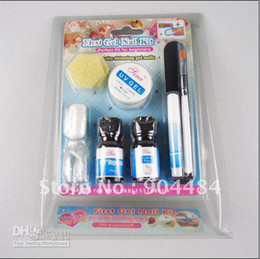 Wholesale MINI Nail Art UV Gel Set kit With Acrylic Flase Tips Brush File Glue Primer Etc For Pro Salon Nails
