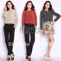 Polyester Women Regular Korea Fashion Women's Autumn Dot Stand Collar Long Sleeve Chiffon Blouse Tops M, L, XL, XXL 3 Colors 8080