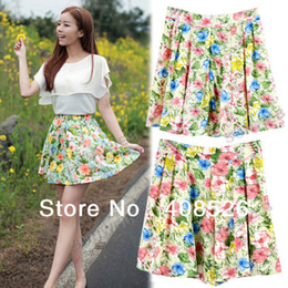Wholesale Fashion Girl Women bohemian Short Pleated Bubble Skirt Floral Printing Chiffon Mini Skirt Size S M L Dropshipping13531