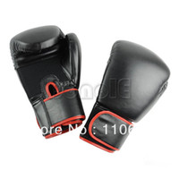 Wholesale 1Pair Cool Man Super Strength Black Boxing Gloves Muay Thai Training Gloves Sparring Gloves oz Hot Selling TK0769
