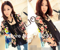 Jackets Women Cotton Women's Jacket Medium  Half Sleeves Flower Printing Casual Tailored Suit free shipping 9487