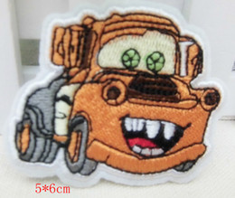 Wholesale Orange car Embroidered patch iron on Motif Applique garment embroidery cartoon patch DIY accessory7 cm