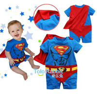 Unisex Summer 100% Cotton Wholesale Free shipping qjq 674 Hot Sale!Baby Rompers boys girls Superman style Romper Super Man Rompers Batman Clothes
