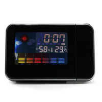 Digital Alarm Clocks  Free shipping LED Light LCD Projection Digital Weather Thermometer Alarm Clock Snooze Station 901743-CES-00003