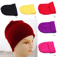 Wholesale Winter Warm Knitted SkullCaps Soft Cuff Hat Elegant Purple Beanie Cloches Ski Caps Colors Choose HZF