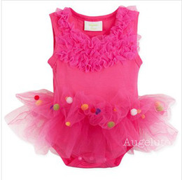 Wholesale 2014 Summer New Infant Baby s Romper Sweet Fushia Sleeveless Tutu Dress Romper Pretty Girls Colorful Balls Romper
