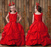 Reference Images Toddler Applique Red Applique Spaghetti Straps Lovely Little Girl Pageant Dresses Pick-Ups Princess Ball Gowns Flower Girl Dress With Bead Taffeta Girl Skirt