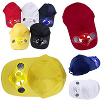 Wholesale New Solar Energy Fan Hats Sun Power Cotton Caps Cool Blue Baseball Golf Hats For Outdoor Sports Colors Choose