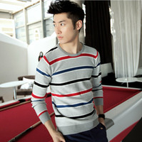 Wholesale New Men Stripe Knitting sweater Leisure Round neck pullover Sweater