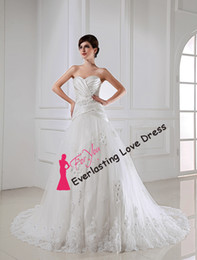 Wholesale NEW Sweetheart Neckline Ruched Satin Applique With crystal bead lace wedding dress gothic corset wedding Gown Fashion Customized