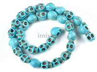 Wholesale Fashion Skull Turquoise Gemstone Loose Beads DIY Bracelet amp Necklace Imixlot Bead BD132C