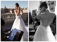 inbal dror - 2014 Inbal Dror New Style V Neck White Wedding Dresses Satin and Tulle Ruched Spaghetti Straps Sexy Backless Bridal Wedding Gowns With Beads