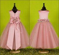 little girl - Beautiful Pink Handmade Flower Jewel Flower Girl Dresses With Exquisite Sash Little Girl Pageant Dress Taffeta Birthday Gowns Cheap Bow