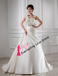 Wholesale One Shoulder Floral Ruched Side Satin Wedding Dresses customized products Plus Size victorian corset dresses