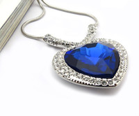 Wholesale 2014 New Titanic Ocean Heart Crystal Pendant Exquisite Classical Royal Blue Austrian Crystal Necklace Fashion Jewelry Accessories VP