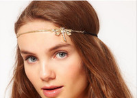 Wholesale H794 fashion zinc alloy gold elastic crystal rhinestone dragonfly girl chain headband
