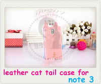 For Samsung Leather White Fashion hairy cute cat with tail inside leather phone case cover skin shell for samsung note 3 n9000 with free shipping From imgirl