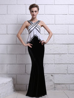 Wholesale Black V Neck Criss Cross Mermaid Sleeveless Velvet Evening Dress long sleeve dresses r64 u6 EQd